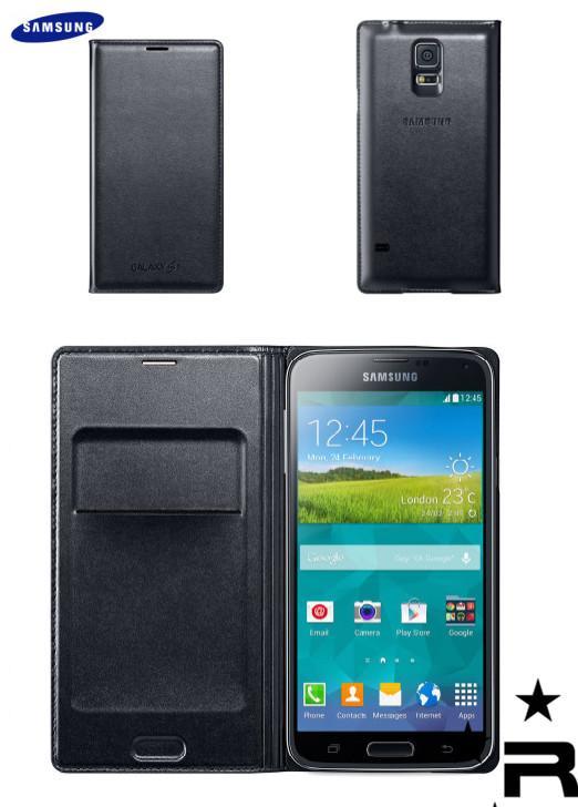 huge selection of fe12a 6c471 Samsung Galaxy S5 Original Flip Wallet Cover - Black - rmtlee