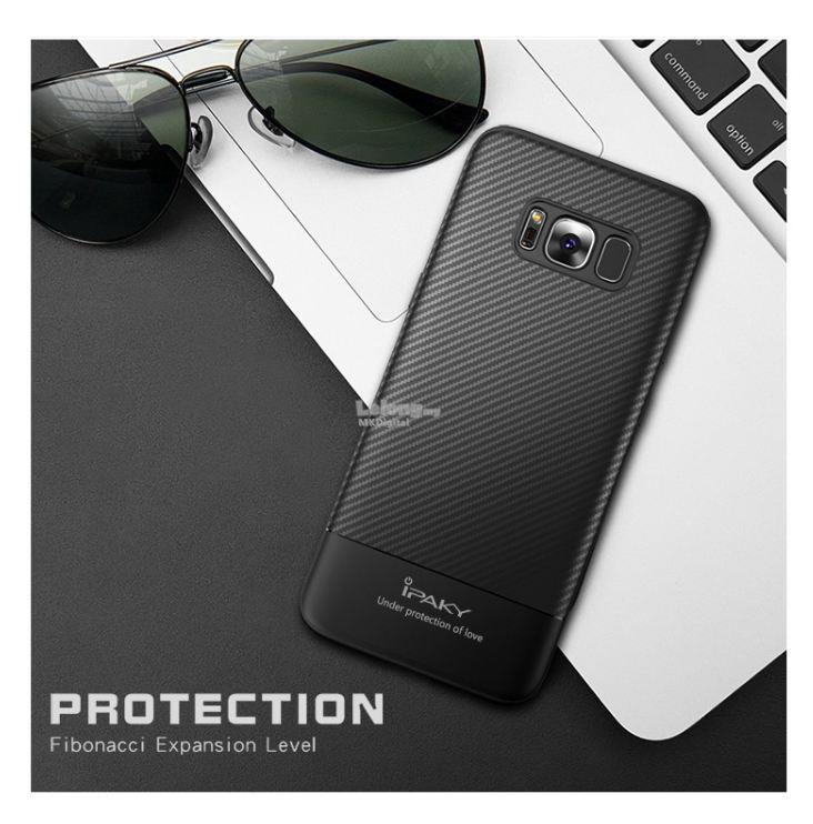 buy online 1a73e fefe9 Samsung Galaxy S8/S8 Plus Case, iPAKY Carbon Fiber Soft Silicone Cover