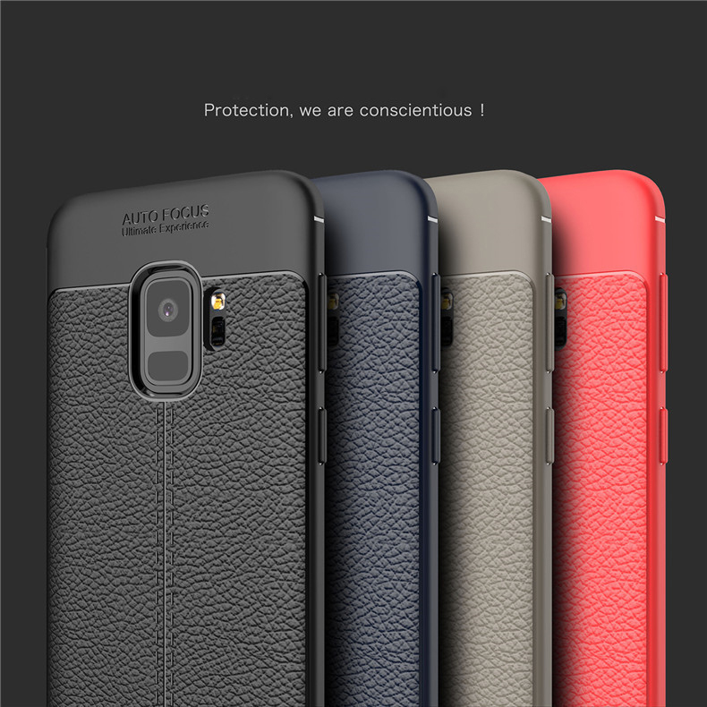 super popular e67c7 9bf72 Samsung Galaxy S9 S9 Plus J2 Pro 2018 TPU Leather Grain Soft Case Cove