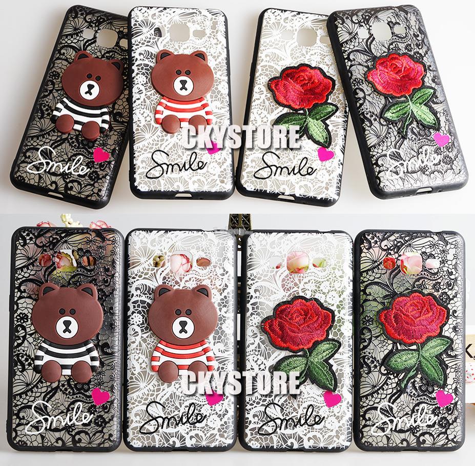 separation shoes 80122 d553f SAMSUNG J2 Prime Note 3 4 J7 Prime / J7 Plus Teddy bear Flower Case