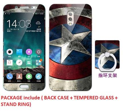 Samsung j7+ plus Full Protect Case Casing Cover + Temper Glass+Stand