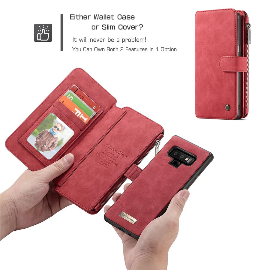 buy popular 5ed15 e86da Samsung Note 9 flip cover phone case Real Leather with zip wallet type