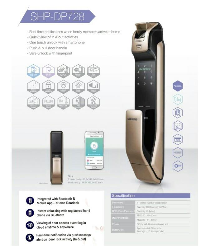 Samsung Smart Digital Door Lock SHP-DP728 (philips/yale/st guchi)