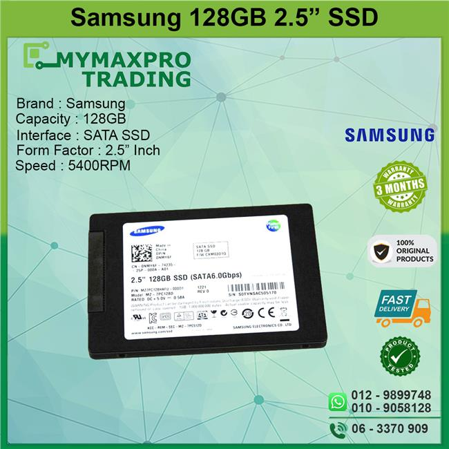 Samsung SSD 128GB 2.5' inch Solid State Drive Sata for laptop notebook