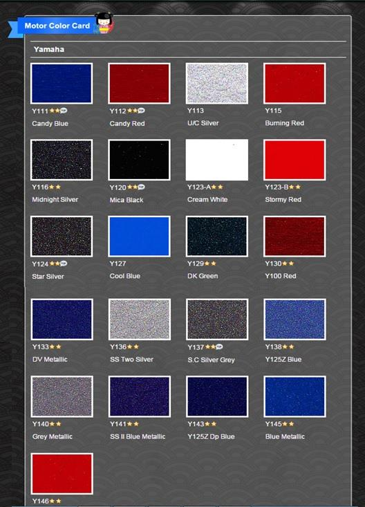 yamaha motorcycle paint color codes