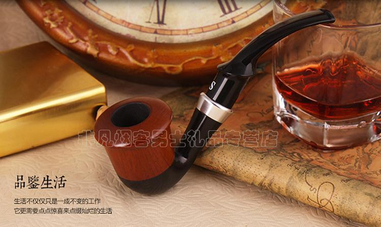 Sanda Red sandalwood bent smoking tobacco pipe with filter SD-752