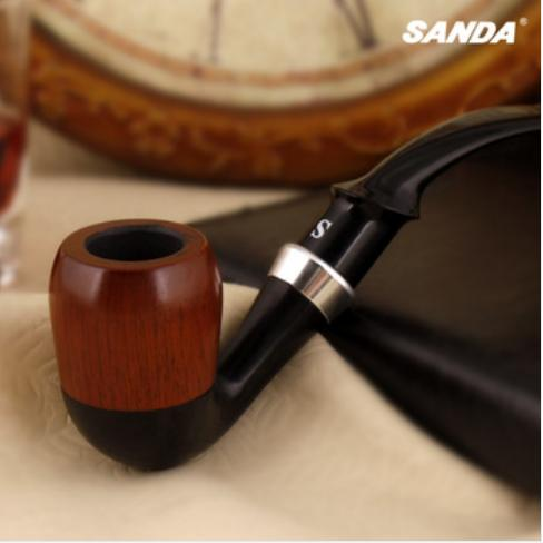 Sanda Red sandalwood bent smoking tobacco pipe with filter SD-755