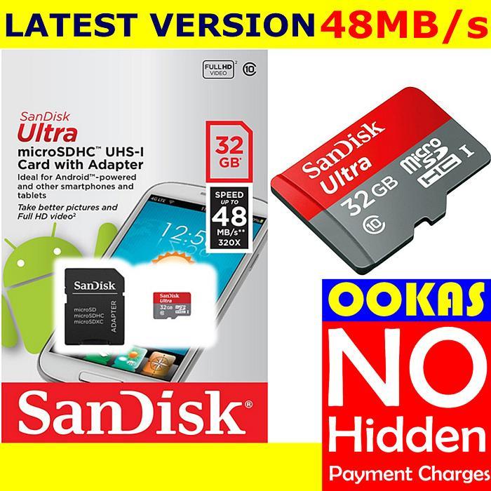 SANDISK 48MB/s Micro SD Ultra Class 10 8GB/16GB/32GB/64GB. ‹ ›