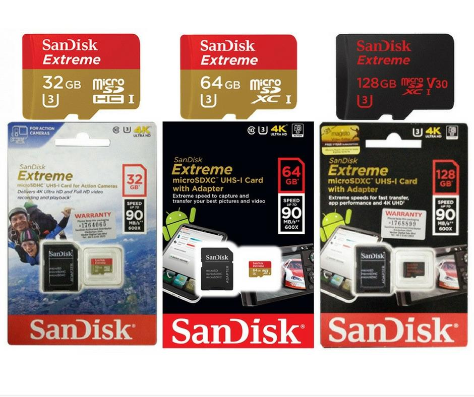 Sandisk Extreme 90Mbs/Ultra 80Mbs Micro SD 32GB/64GB/128GB Memory Card