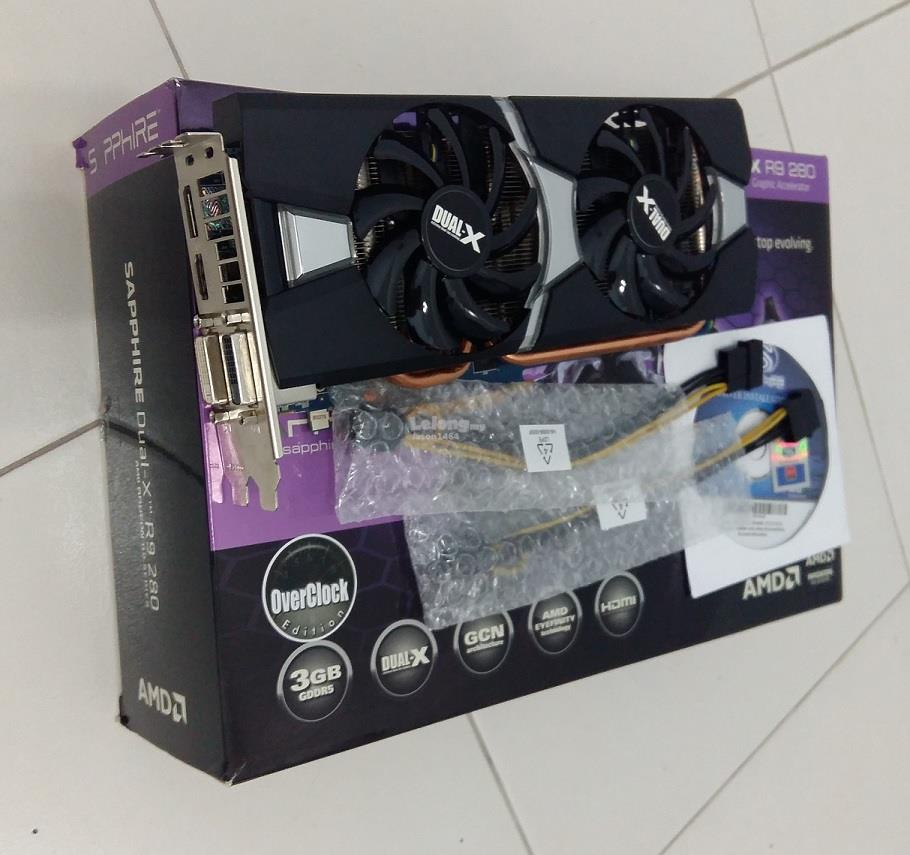 Sapphire AMD Dual X Radeon R9 280 OC 3GDDR5 Graphics Card