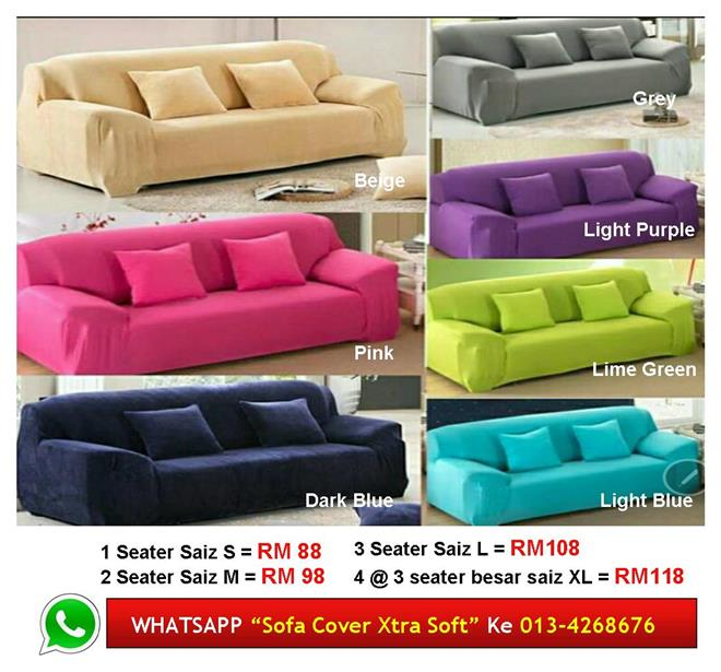 Sarung SOFA COVER 123 Seater PLAIN Colour Xtra Soft Murah & Selesa
