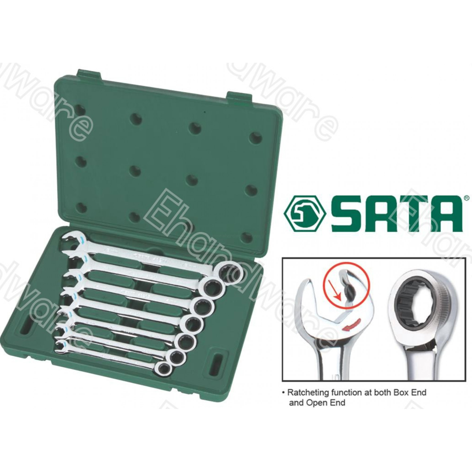 Sata 09024 7PCS DOUBLE RATCHETING COMBINATION WRENCH SET (METRIC)