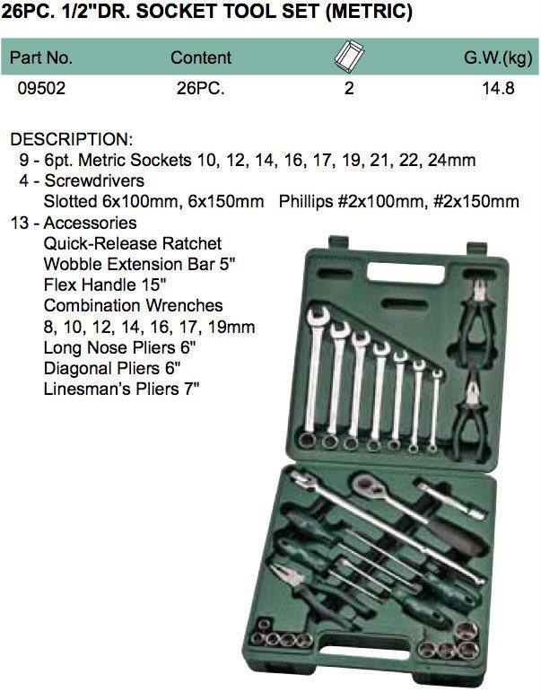Sata 09502 Socket & Hand Tool Set 26pc, 1/2' Metric ID118531
