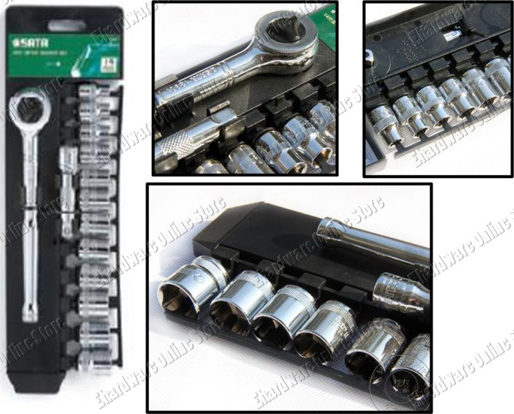 SATA 14PCS 3/8'DR METRIC SOCKET SET (09523)