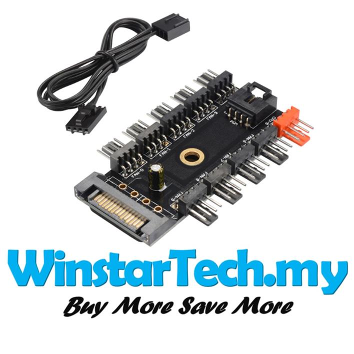 SATA 15pin to 10way 3-pin 4-Pin PWM Cooling Fan Power Adapter Cable PC