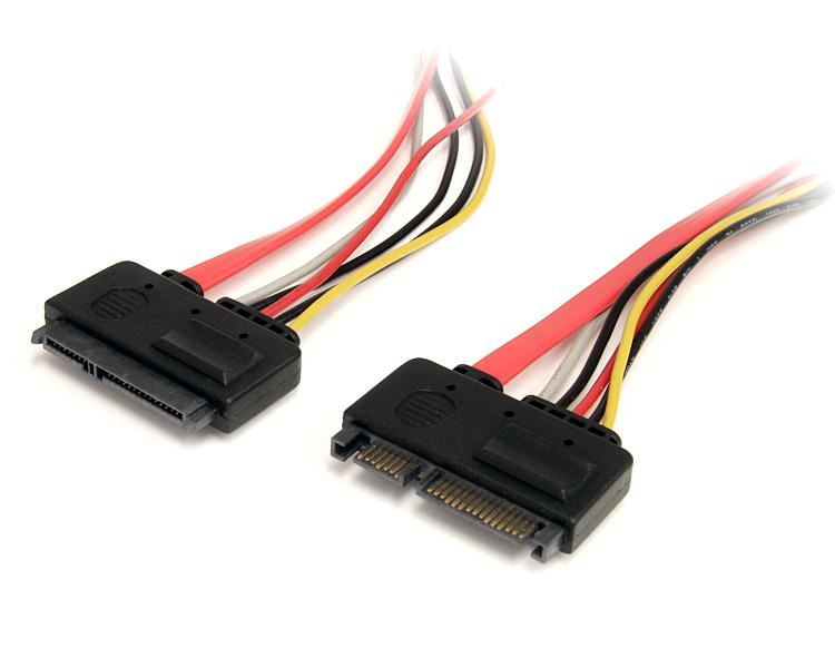 SATA 22 Pin Female to SATA 22 Pin Male Extension Cable (10in)