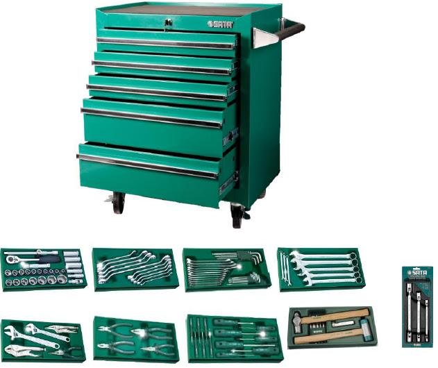 SATA 95121P5-140 PCS TOOLS SET WITH 5 DRAWER ROLLER CABINET