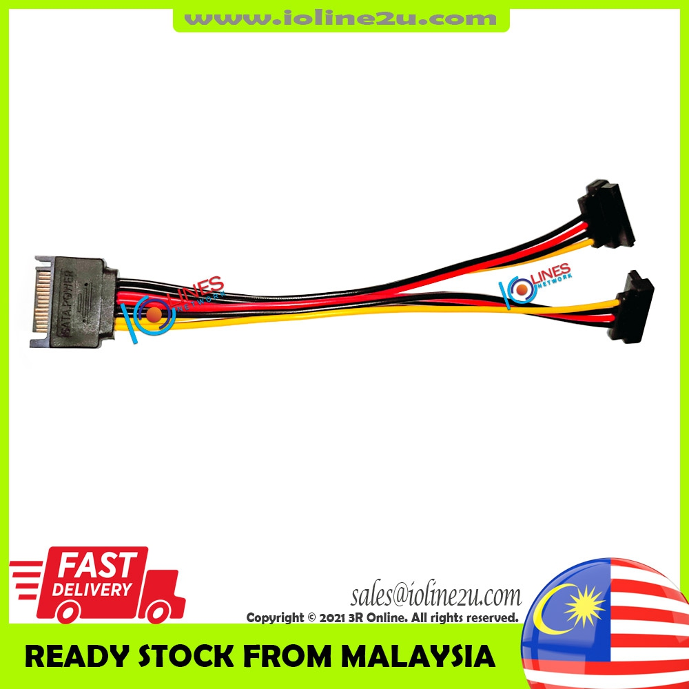 SATA male 1 to 2 SATA Angled L 270 ° Power connector Splitter Y cable 15