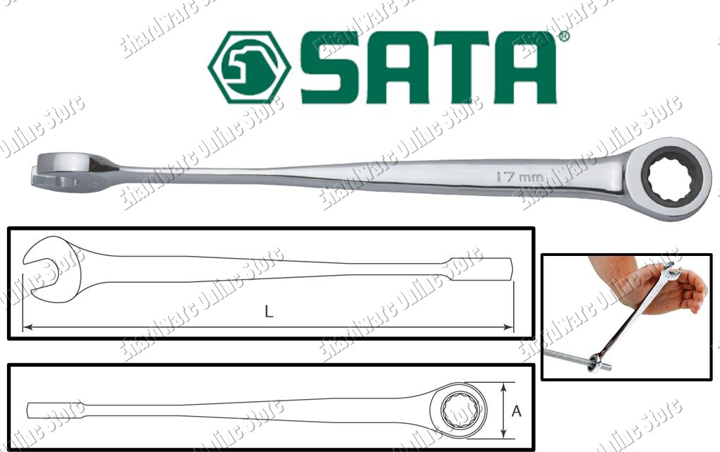 SATA X-BEAM RATCHET COMBINATION WRENCH (463XX)