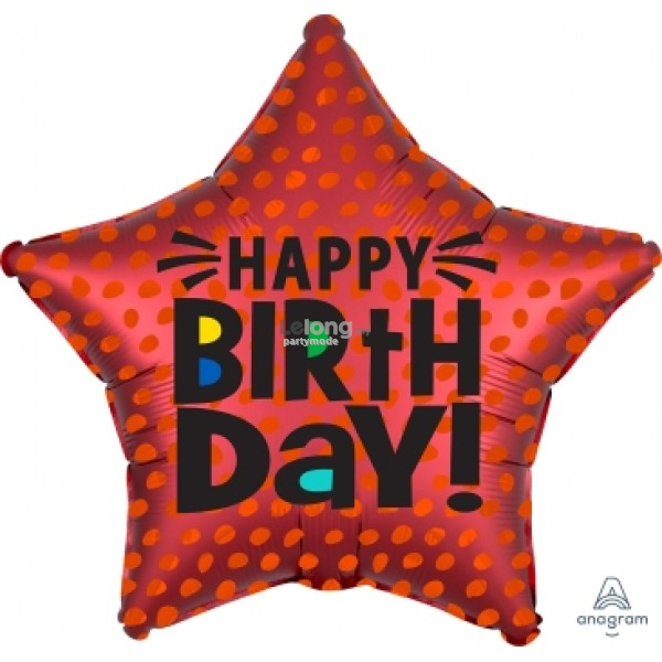 SATIN INFUSED RED STAR BIRTHDAY 19in Foil Balloon Party 41317