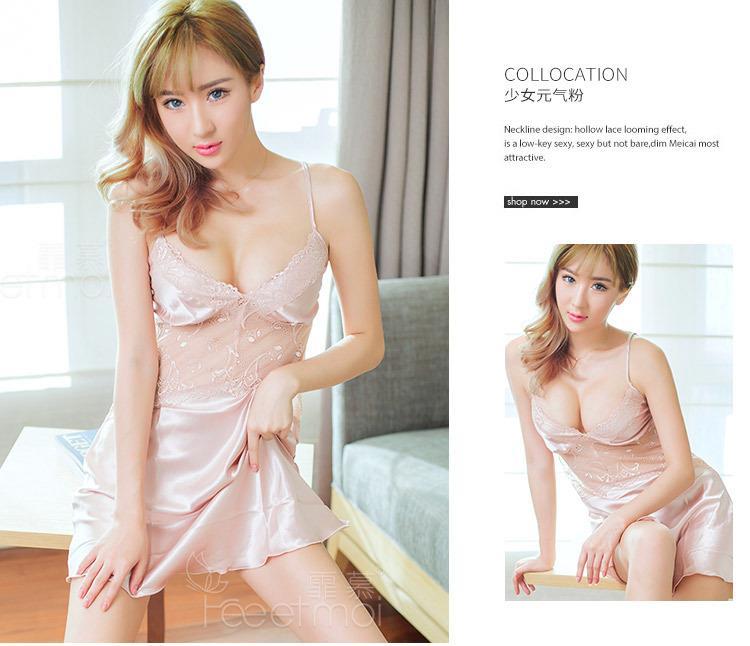 40b330b42dcae Satin Lace Light Gold Halter Pyjamas Sleepwear Sexy Lingerie MS278