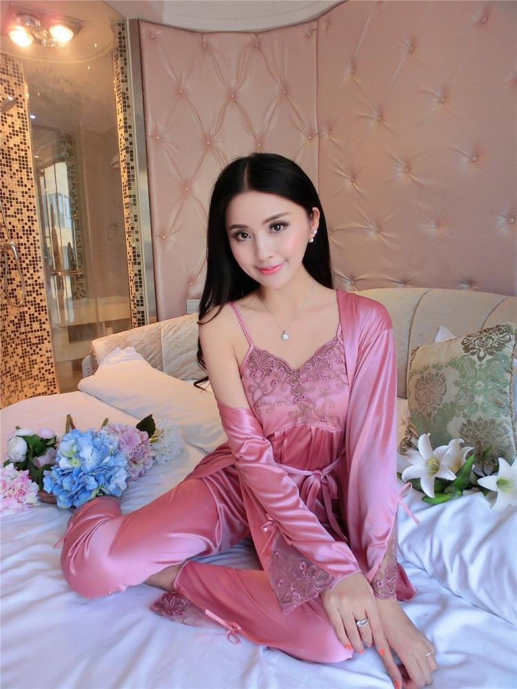 Satin Long Pants Pyjamas Camisole Set with Robe Sleepwear MS289