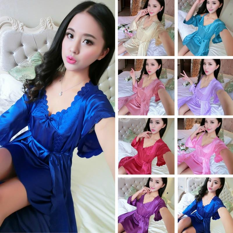 Satin Pyjamas Robes Babydoll Sleepwear Sexy Lingerie S235 (8 Colour)