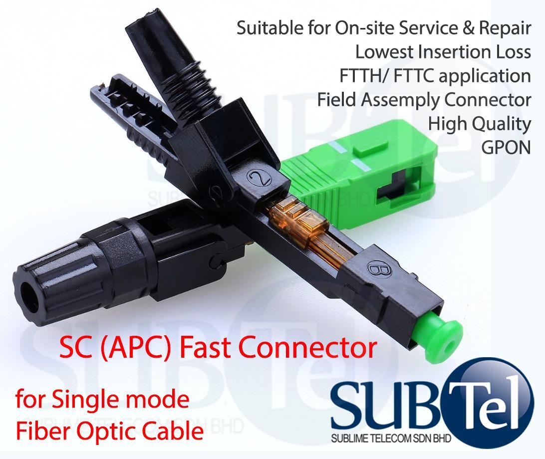 SC APC Fast Fiber Optic Connector Patch Repair SMF GPON GEPON FTTH