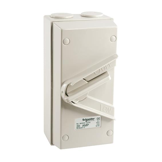 SCHNEIDER Kavacha 35A Triple Pole Weatherproof Isolator Switch (Grey)