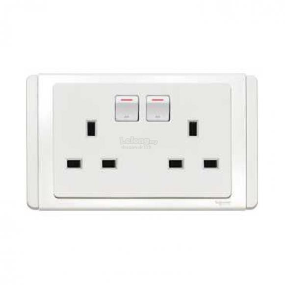 Schneider Neo 13A Twin3Pin Switched Socket Outlet with LED, White