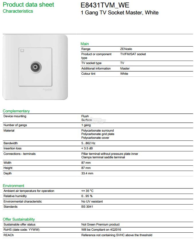 Schneider Zencelo 1 Gang TV Socket  White