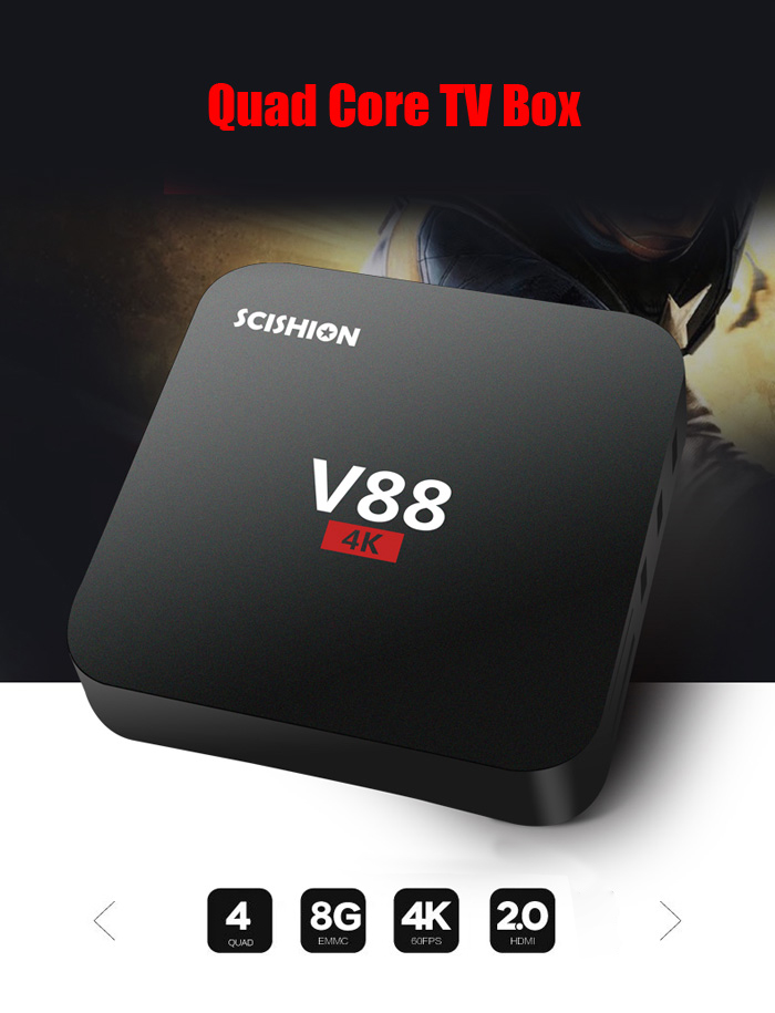 SCISHION V88 TV Box 4K H.265 1GB DDR3 RAM 8GB eMMC ROM Android Media P..
