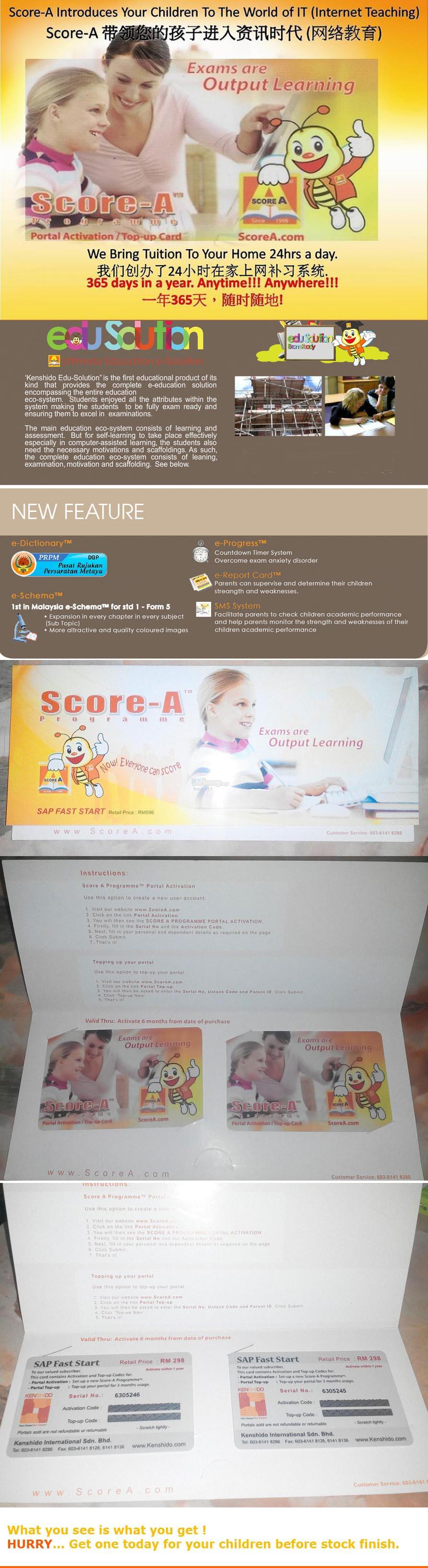 Score A e-Learning Online - 1 Year 2 Kids (All Subjects)