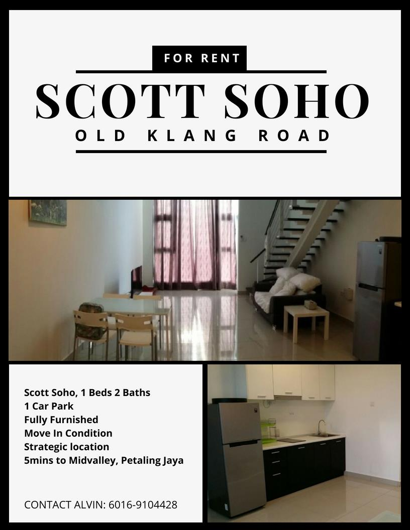 Scott Soho for rent, Fully Furnished, Near Midvalley, Old Klang Road