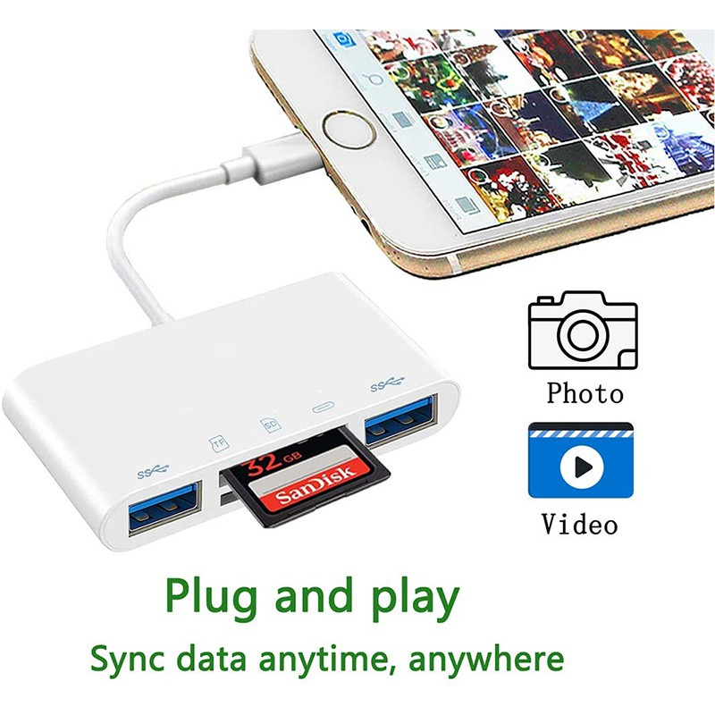 Sd Card Reader For iPh, Dual USB 3.0 To iPh/ipad Adapter, 5 In 1 USB C