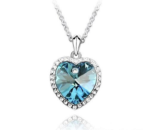 Sea blue swarovski crystal heart pen end 2282017 739 pm sea blue swarovski crystal heart pendant necklace in white gold aloadofball Images