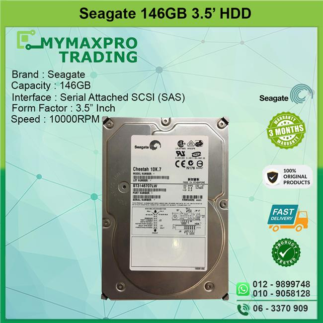 Seagate 146GB 10K RPM SAS 8MB Server Hard Drive HDD ST3146707LW