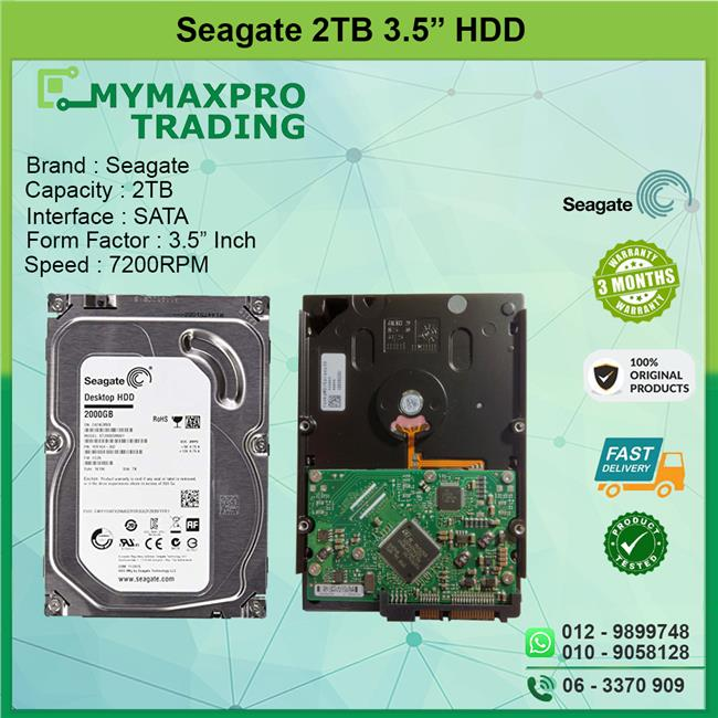 Seagate 2TB 3.5' SATA HDD Desktop PC Hard Disk Drive