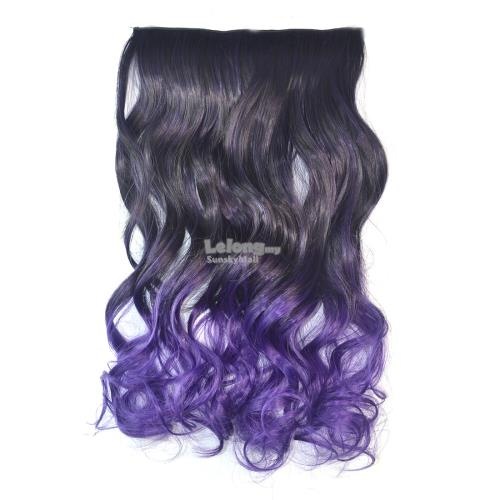 Seamless Hair Extension Gradient Wave Curling Clip Hairpiece