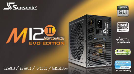 # SEASONIC M12 II 520/620/750/850W EVO - 80Plus Bronze Modular PSU #
