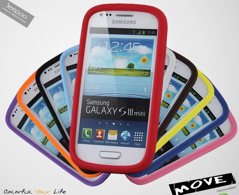 Seepoo Samsung Galaxy S3 Mini i8190 Silicone Back Case Cover + Free SP