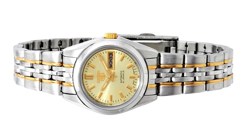 SEIKO 5 Ladies Automatic Silver Gold Stainless Steel Watch SYMA37K1