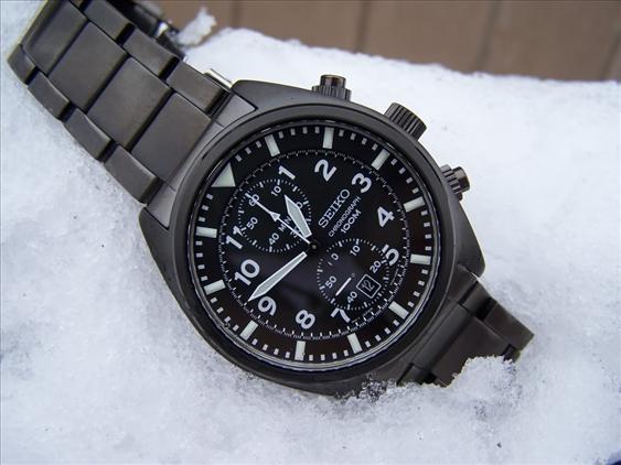 Seiko Chronograph Black Ion Plated Steel Watch Snn233p1