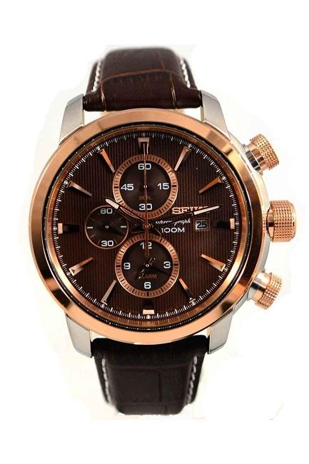 SEIKO Chronograph Brown Leather SNAF52P1 SNAF52 Mens Watch