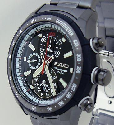 Seiko Criteria Chronograp​h Black Ionized Alarm Watch SNAC91P1