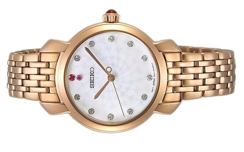 Seiko Ladies Quartz Swarovski Rose Gold Stainless Steel Watch SUR624P1