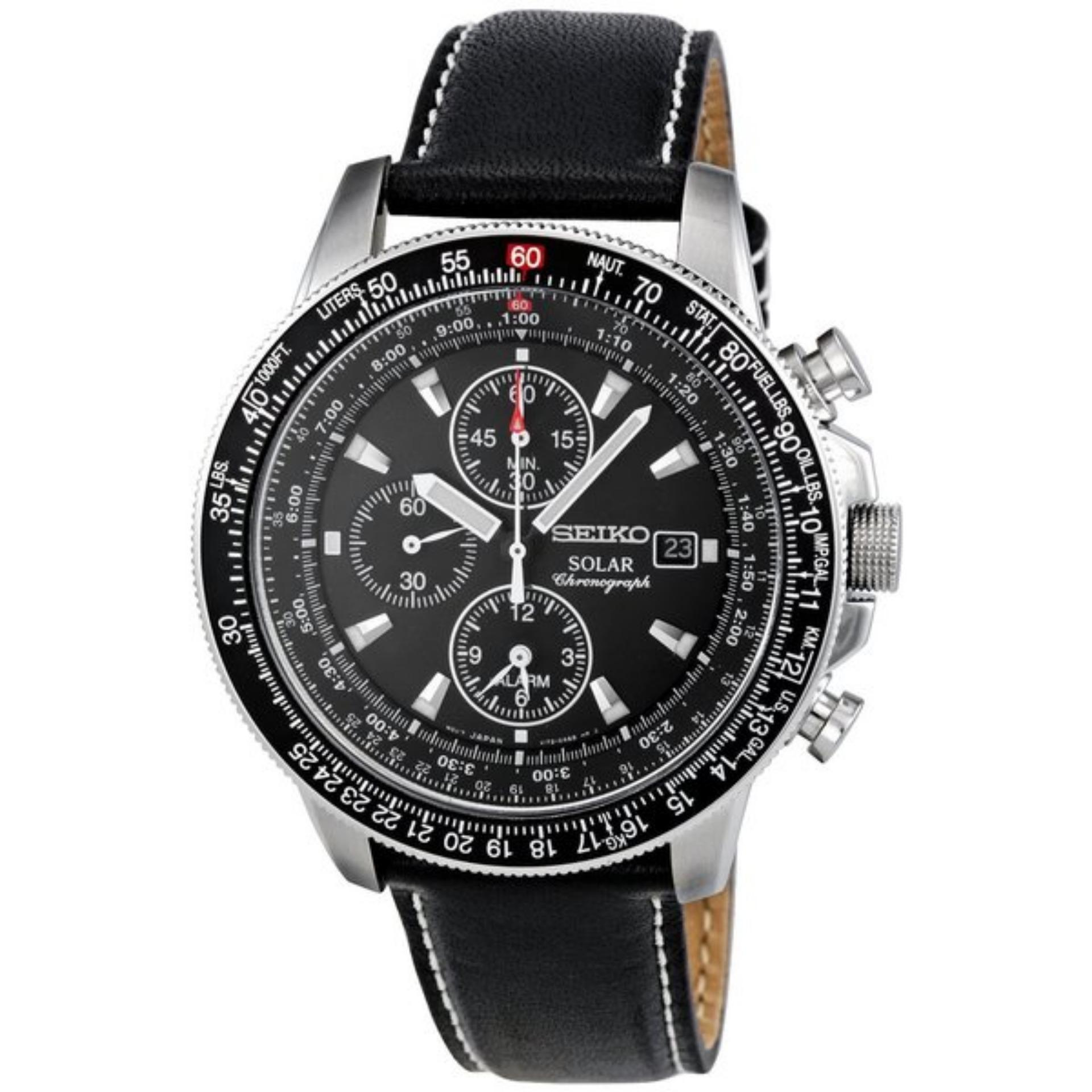 solar chronograph leather seiko gents watch watches