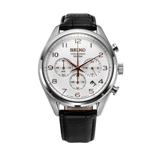 pretty nice 064a8 e47b7 SEIKO Quartz Chronograph Black Leather SSB227 SSB227P1 Men Watch