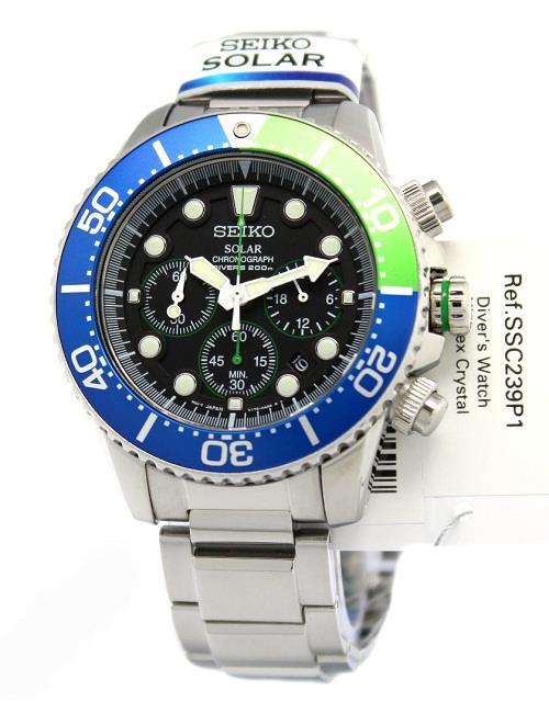 SEIKO Solar Chronograph Diver's 200M SSC239 SSC239P1 Mens Watch