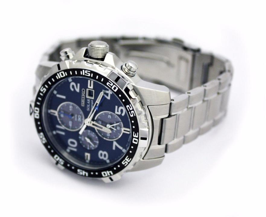 Seiko Solar Chronograph Stainless Steel Navy Blue Men's Watch SSC305